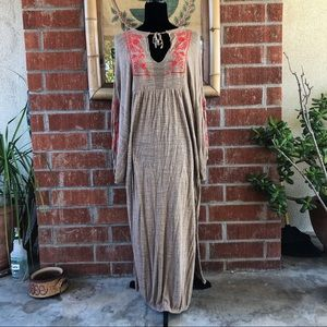 {free people} beige/pink boho maxi dress